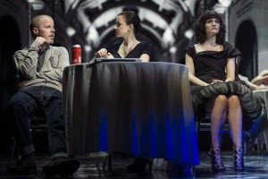 Stephen Wight as Lee McQueen, Laura Rees as Arabella and Carly Bawden as Dahlia in McQueen credit Specular